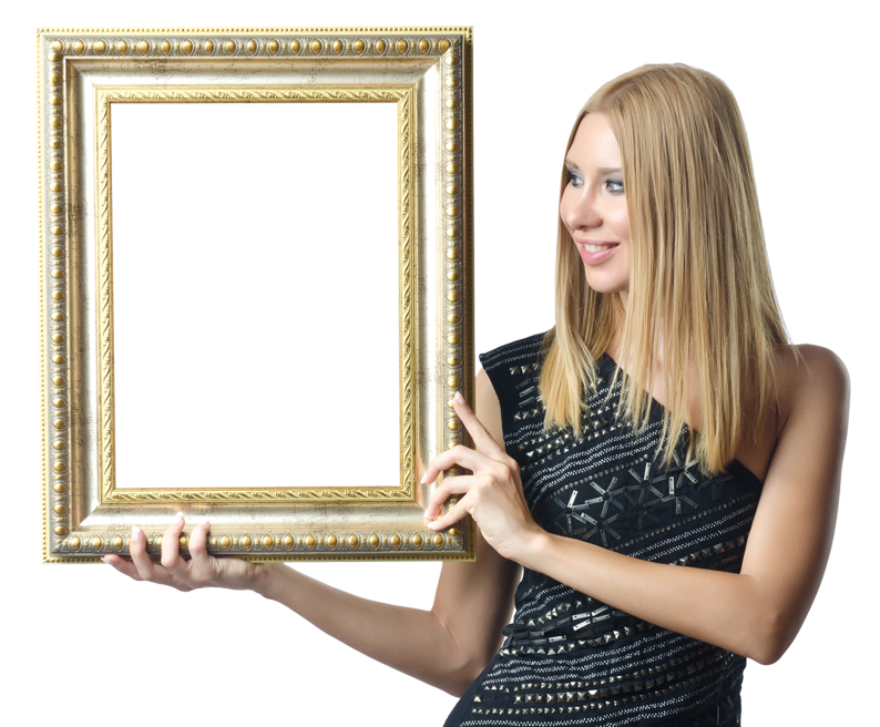 woman holding frame